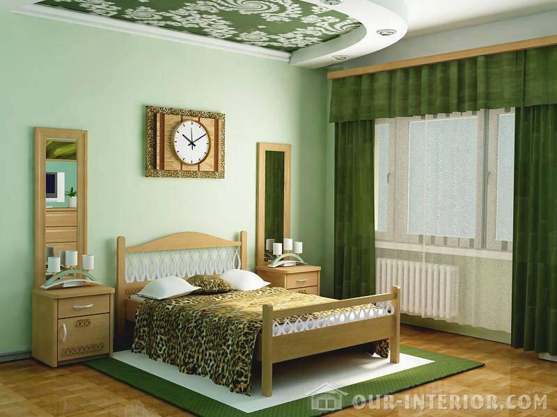 Интерьер на зелёном цвете