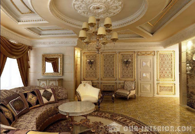 Интерьер потолка гостиной в доме