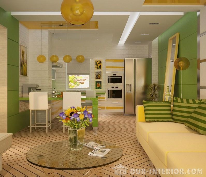Интерьер совмещенной кухни и гостиной в частном доме