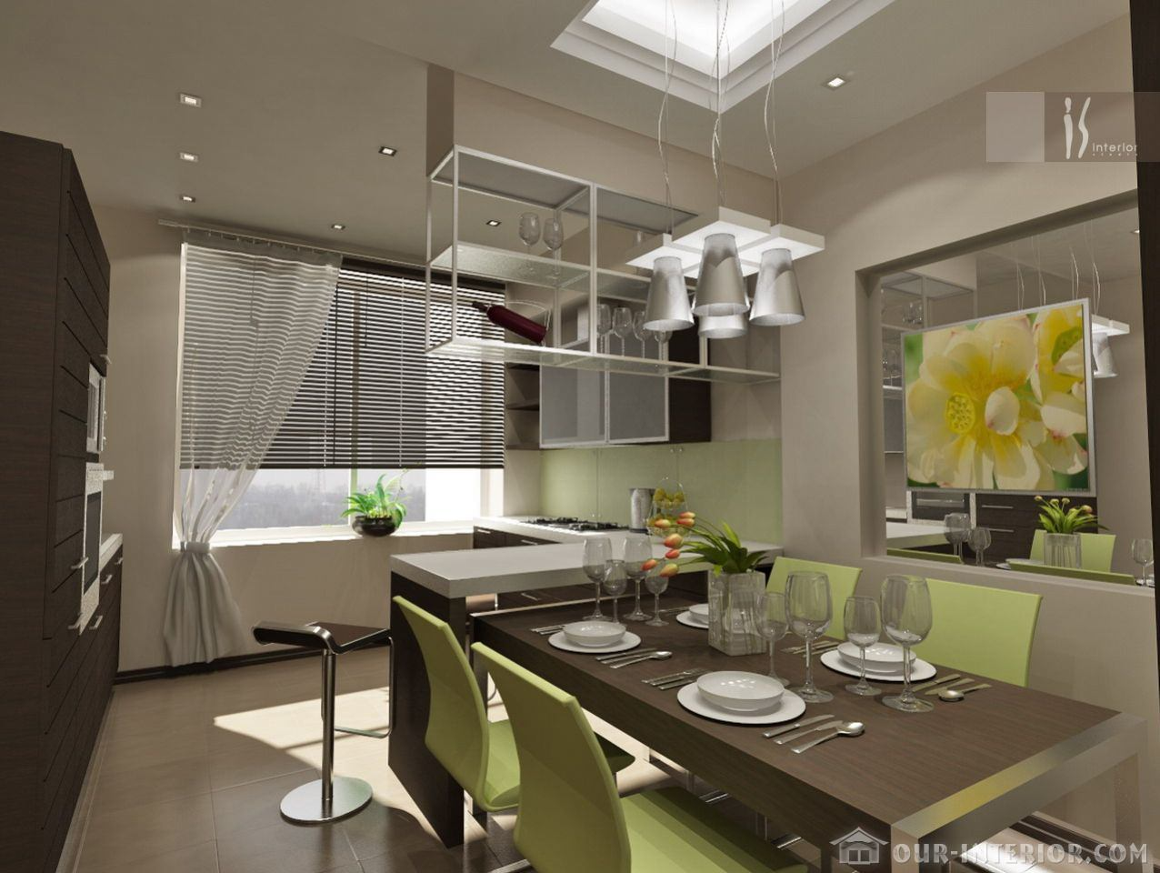 Интерьер кухни размером 12 кв м