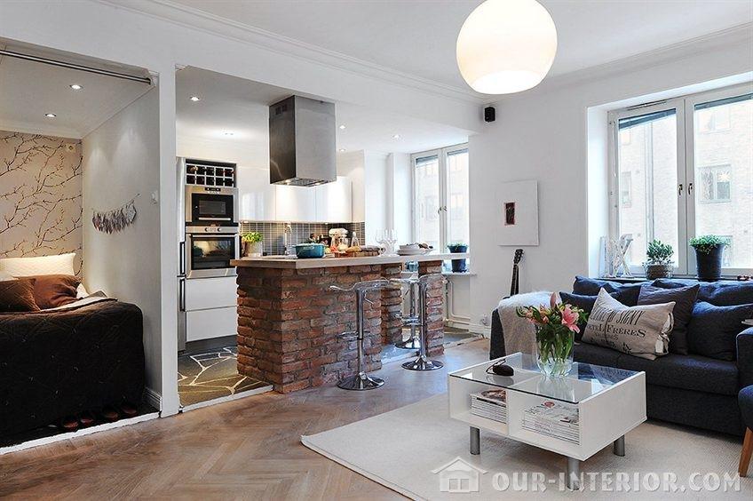 интерьер кухни студии с барной стойкой эксклюзивно на Our Interiorcom