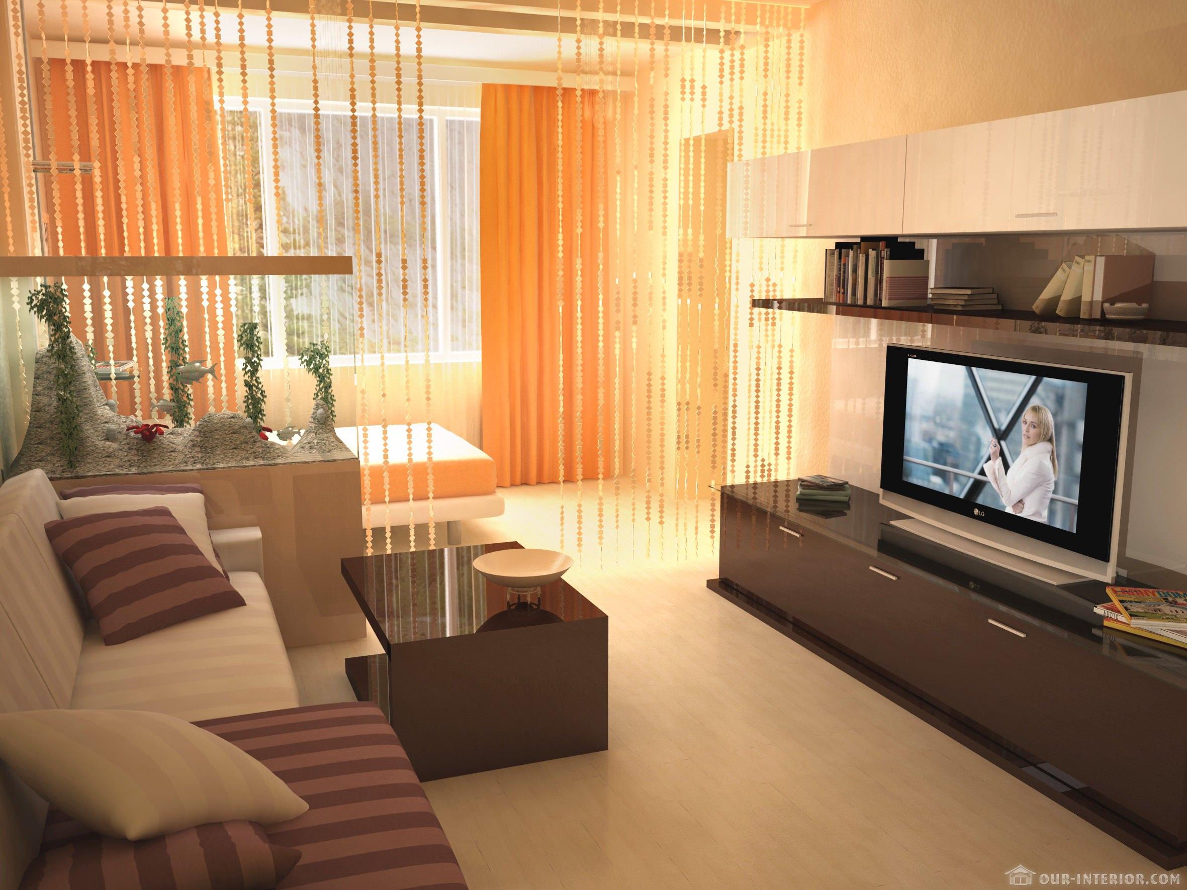 Дизайн комнаты разделенной на спальню и гостиную