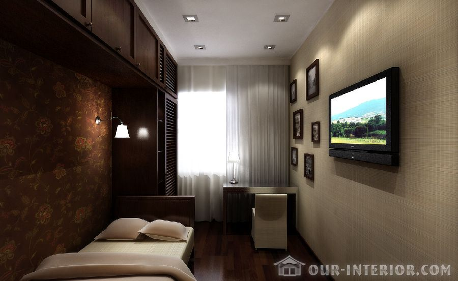 Дизайн узкой длинной спальни