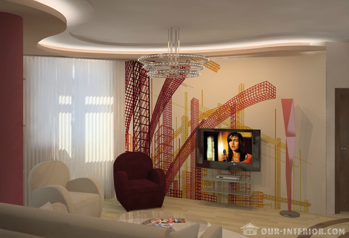 Интерьер жилой комнаты 18 кв м