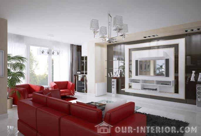 Красные диваны в интерьере