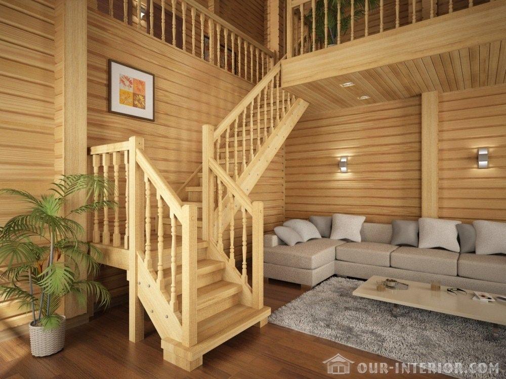 Деревянная лестница в доме своими руками фото
