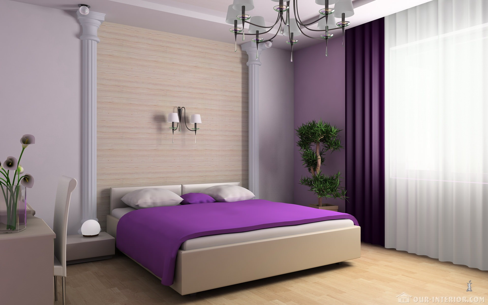 Our for Purple and white bedroom designs