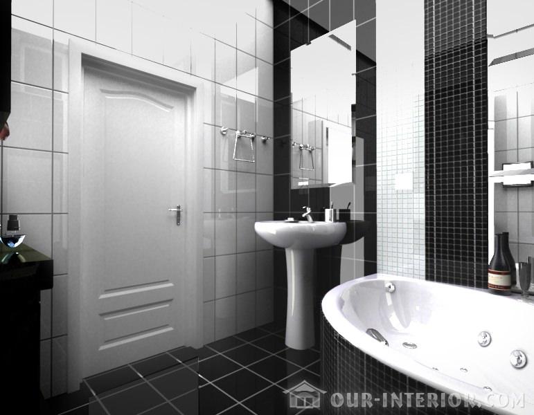 Черно-белый интерьер в ванной