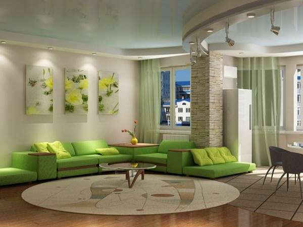 Интерьер гостиной совмещенной с кухней, фото и советы