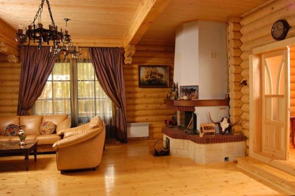 Интерьер дома из оцилиндрованного бревна (бруса)