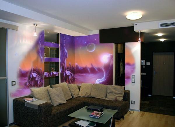 Новинка в дизайне интерьера - роспись стен самосветящейся краской