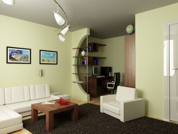 Дизайн интерьера однокомнатной квартиры - фото и советы