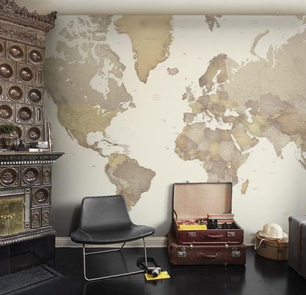 Географические карты в интерьере