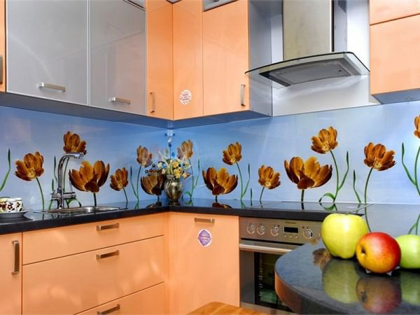 Декоративные стеклянные панели в кухне модерн и кухни в скандинавском стиле