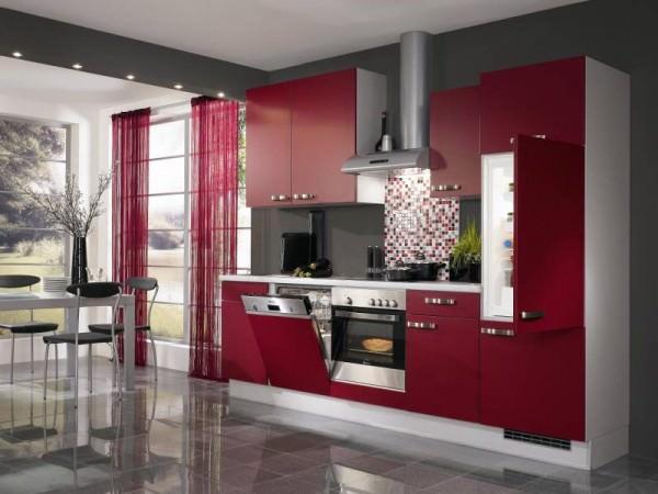 Роскошная кухня в бордовом цвете!