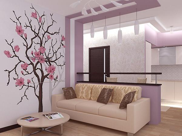 Дизайн интерьера в фиолетовой дымке
