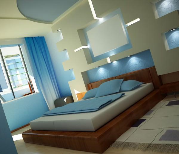 Красивая спальня, выполненная в стиле хай-тек