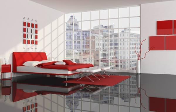 Красный и белый цвет в оформлении спальни