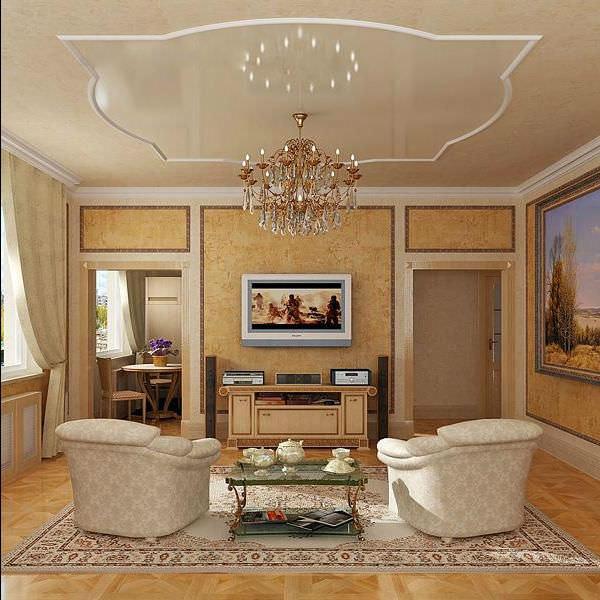 Оформление и дизайн стен гостиной