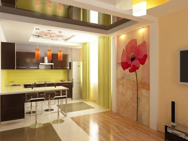 Интерьер кухни размером 6 кв. м.