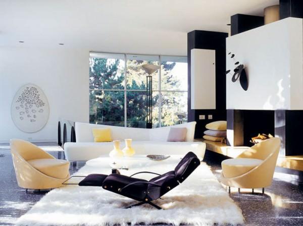 Черно-белый интерьер гостиной в частном доме