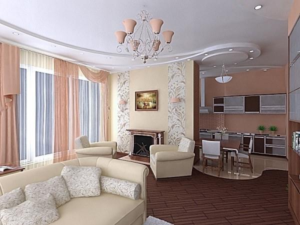 Интерьер гостиной размером 18 кв. м.